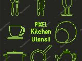 Pixel Kunst Gliederung Kche Utensil Symbole Stockvektor pertaining to size 1024 X 1024